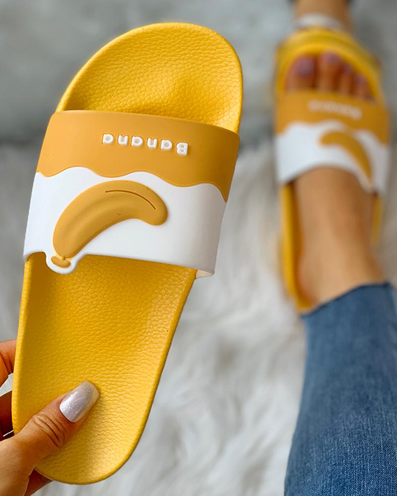 Fruit Pattern Open Toe Flat Sandals, Yellow