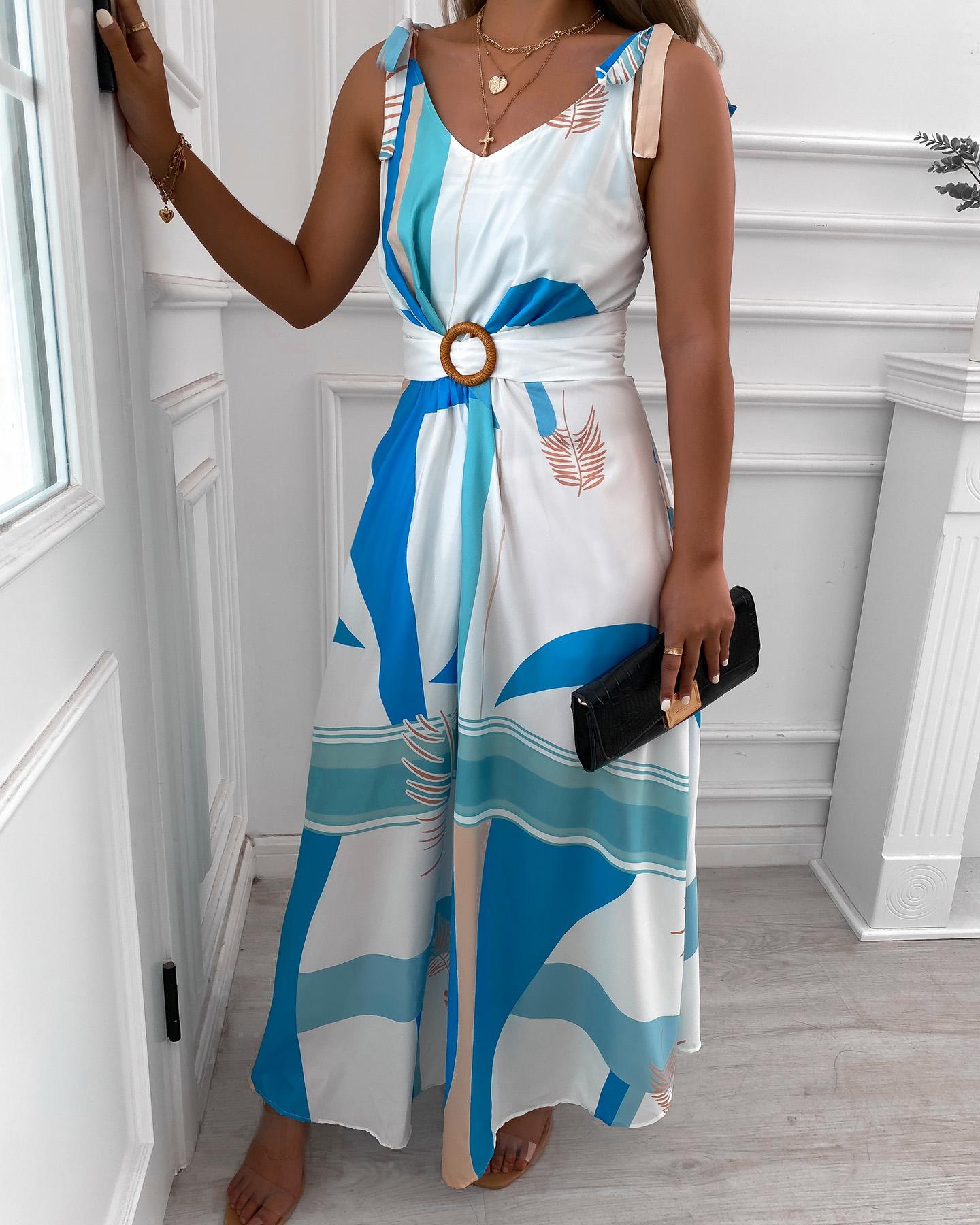 Tropical Print V Neck Tie Up Maxi Dress With Belt thumbnail