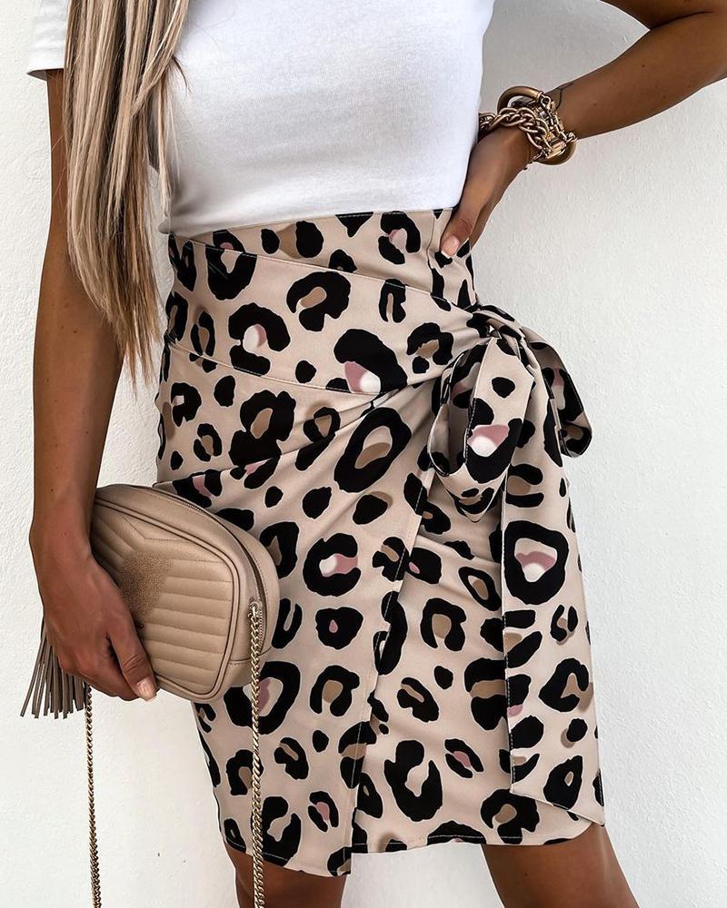 Cheetah Print High Waisted Tied Detail Skirt thumbnail