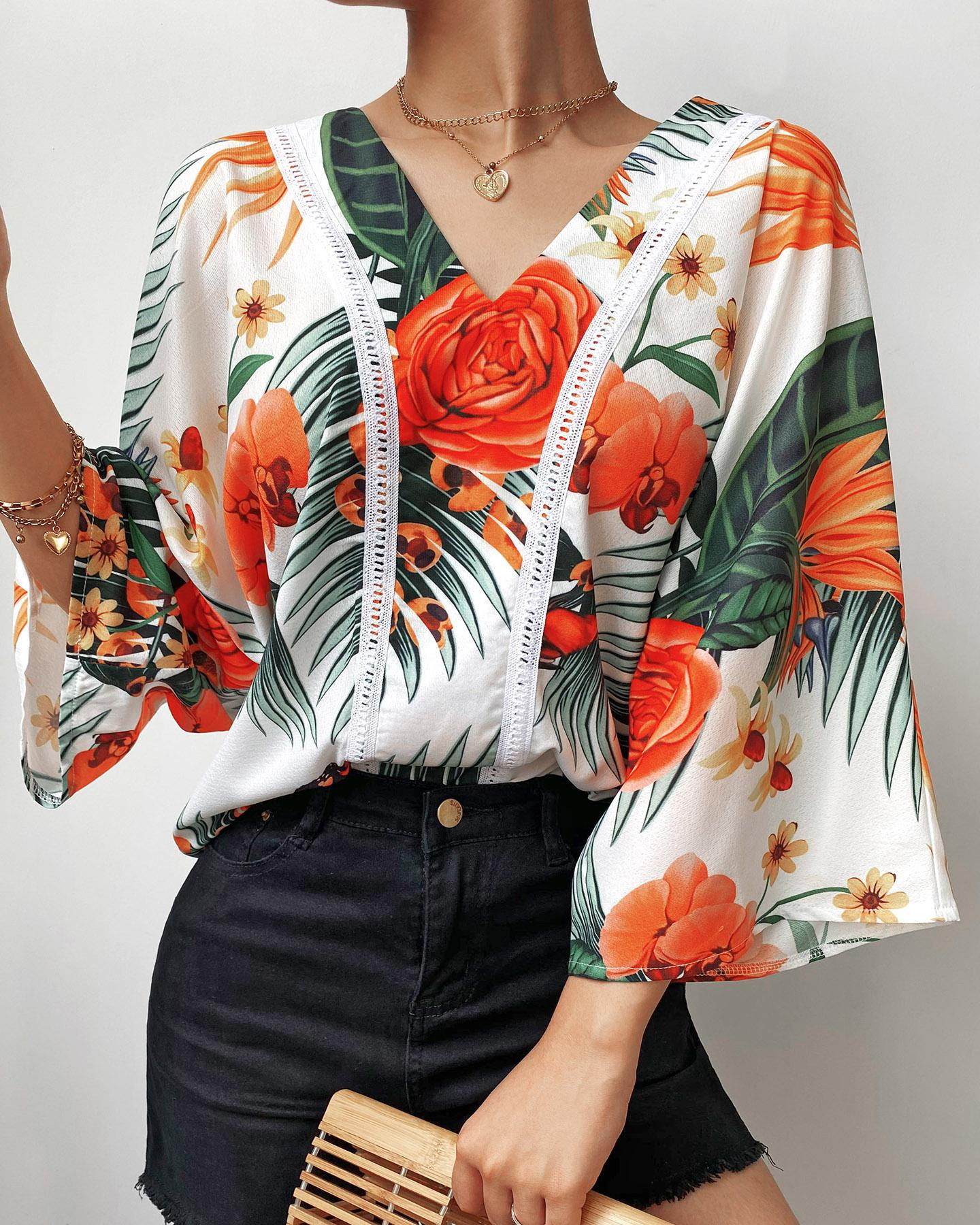 V-Neck Tropical Print Bell Sleeve Top