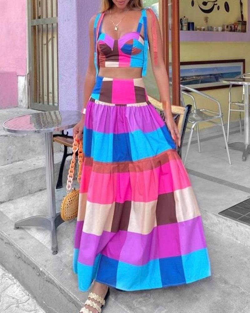 Colorful Plaid Knot Shoulder Crop Top & Maxi Skirt Set
