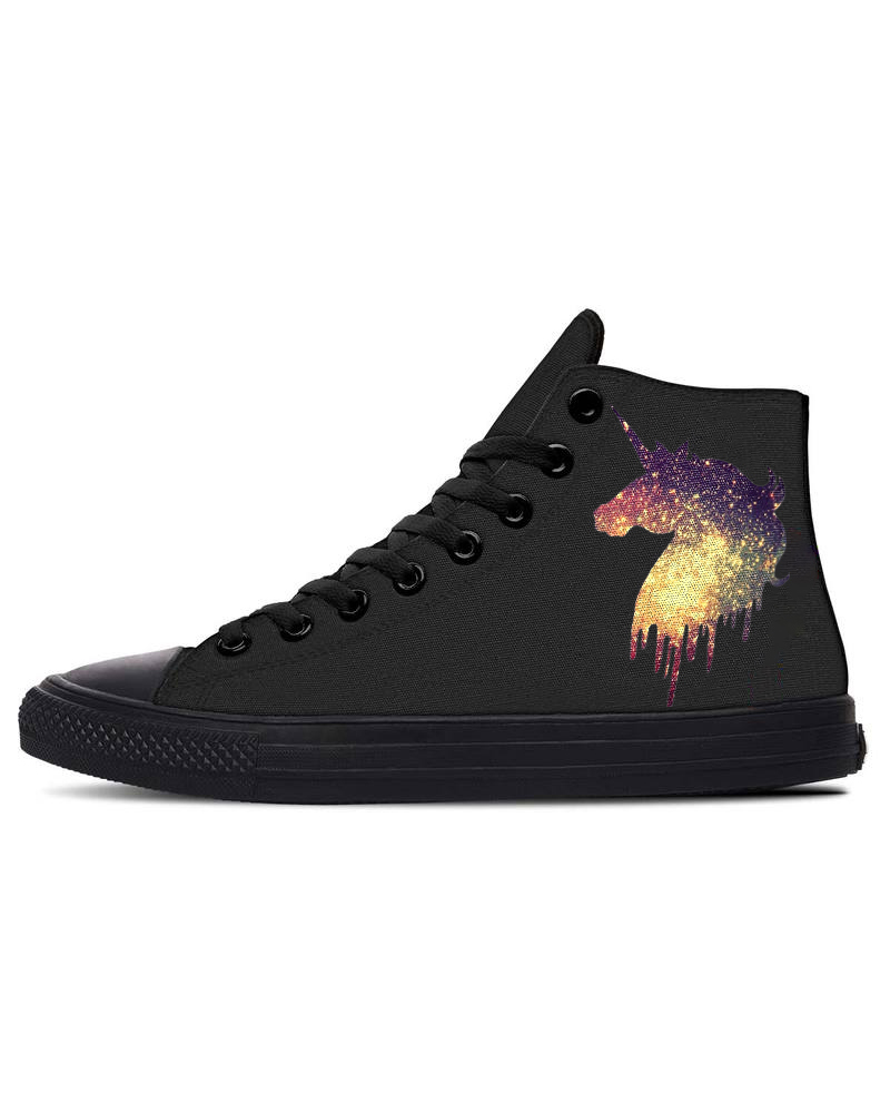 Womens Unicorn Print Lace-up High Top Canvas Casual Shoes, Black