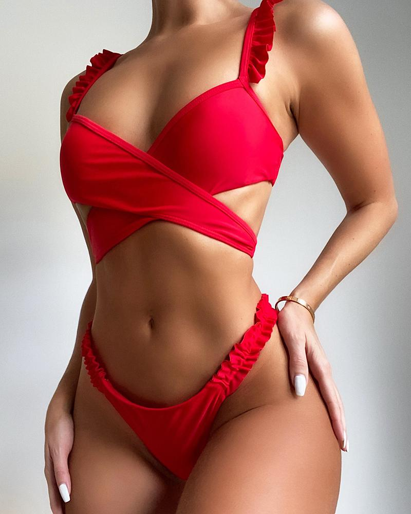 Plain Frill Hem Crisscross Cutout Sleeveless Crop Bikini Sets, Red