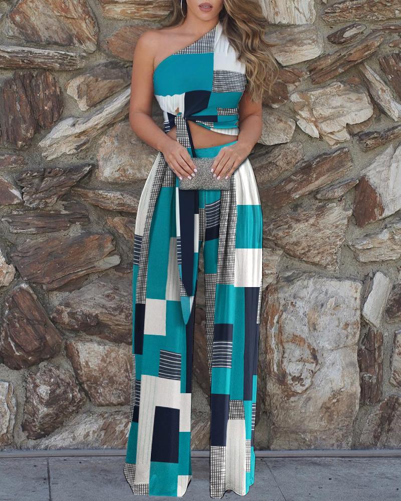 One Shoulder Colorblock Top & High Waist Pants Sets thumbnail