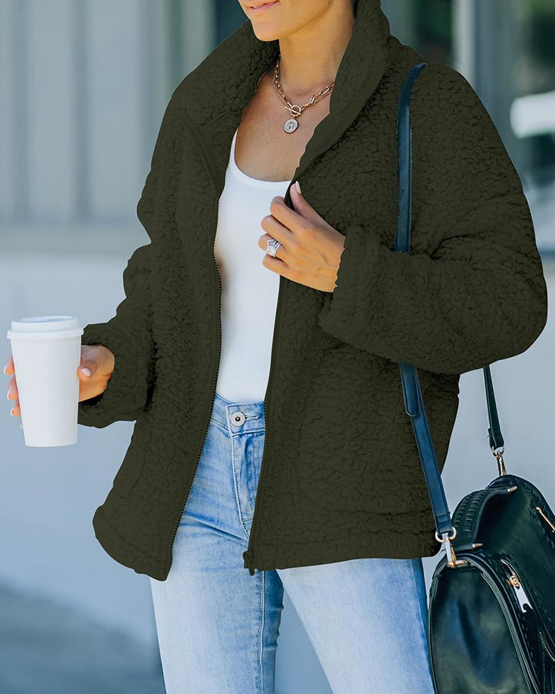 Long Sleeve Pocket Zipper Design Teddy Coat