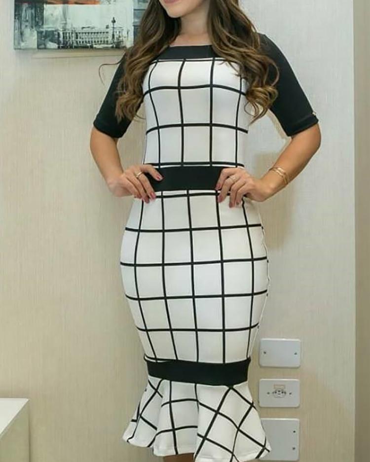 Contrast Color Grid Print Pep Hem Bodycon Dress