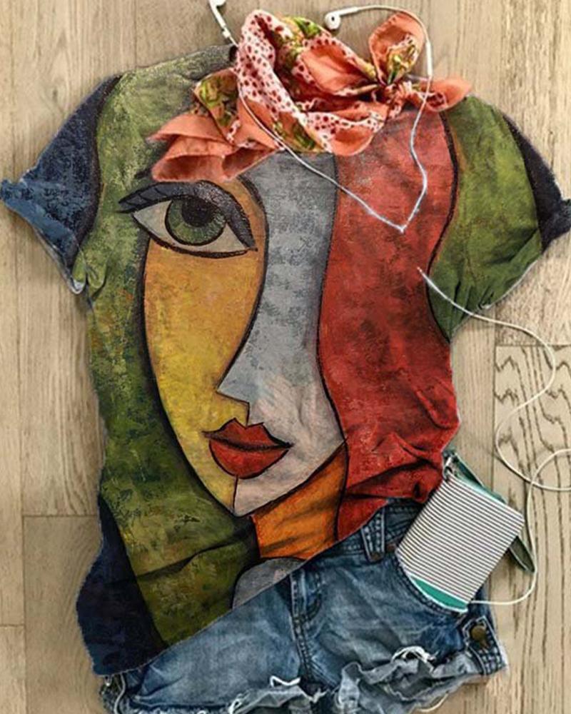 Ivrose coupon: Anstract Figure Print Sort Sleeve T-shirts