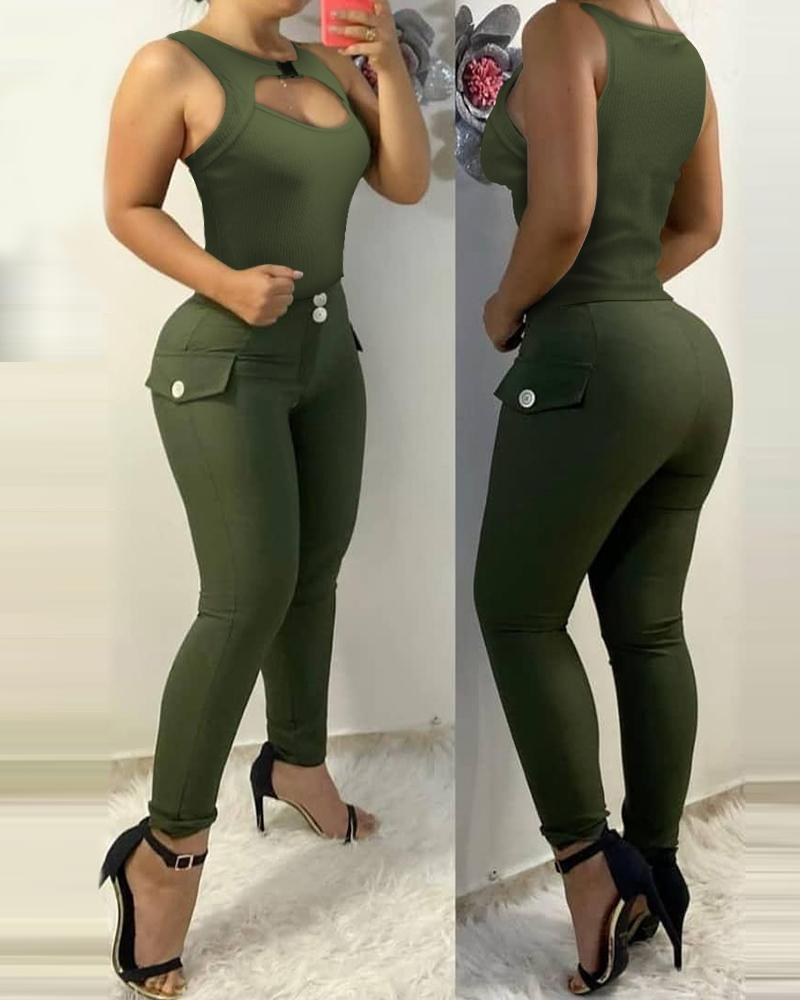 Cutout Front Tank Top & Button Deocr Pants Set thumbnail