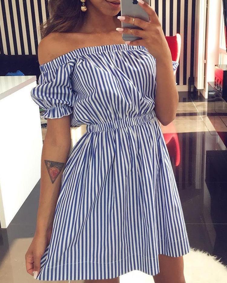 Joyshoetique coupon: Pinstriped Bardot Puff Sleeve Mini Dress