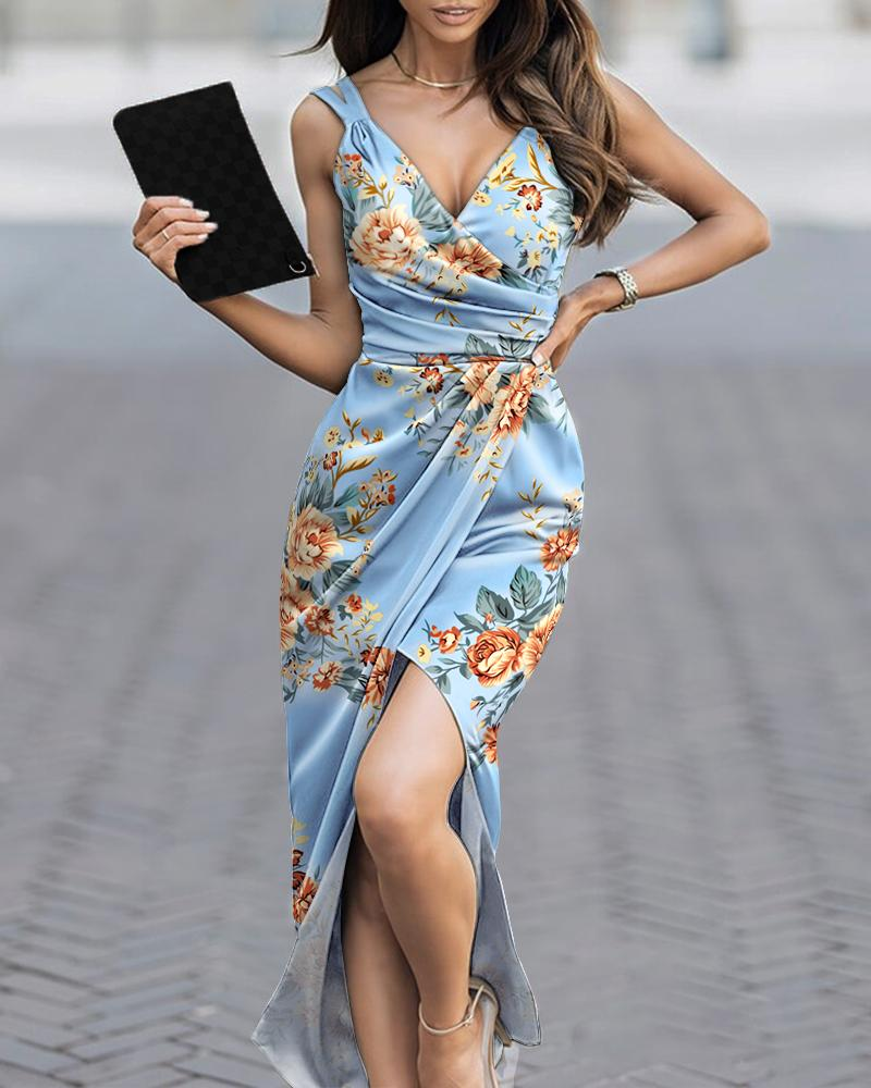 Floral Print Ruched High Slit Satin Wrap Party Dress Sleeveless Party Dress Cocktail Dress