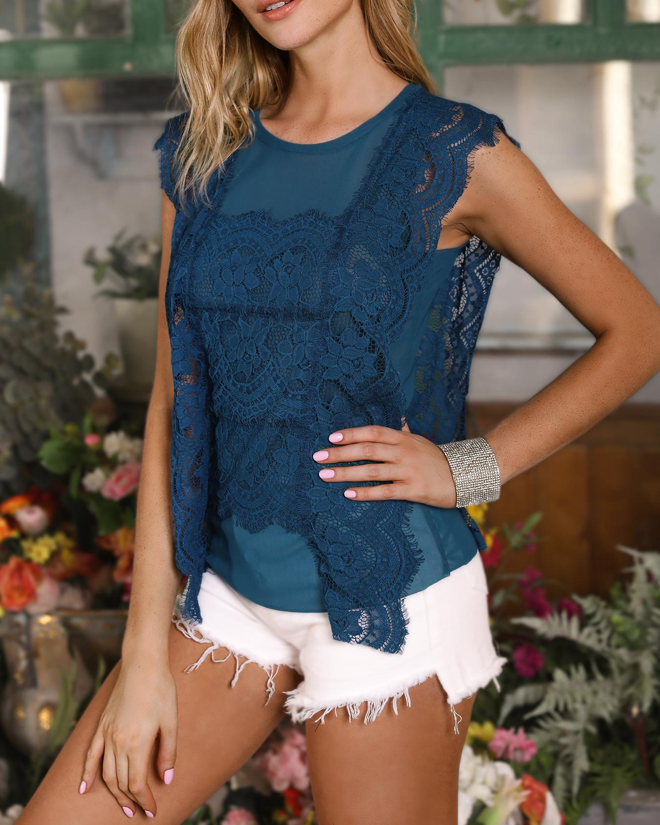 Solid Floral Eyelash Scalloped Lace Top