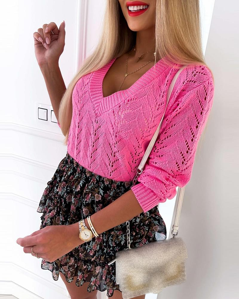 Knit Hollow Out Long Sleeve V-Neck Sweater