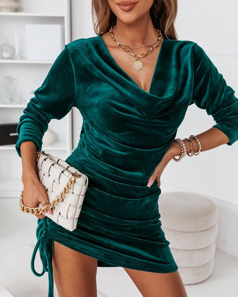 Velvet Cowl Neck Ruched Drawstring Party Dress