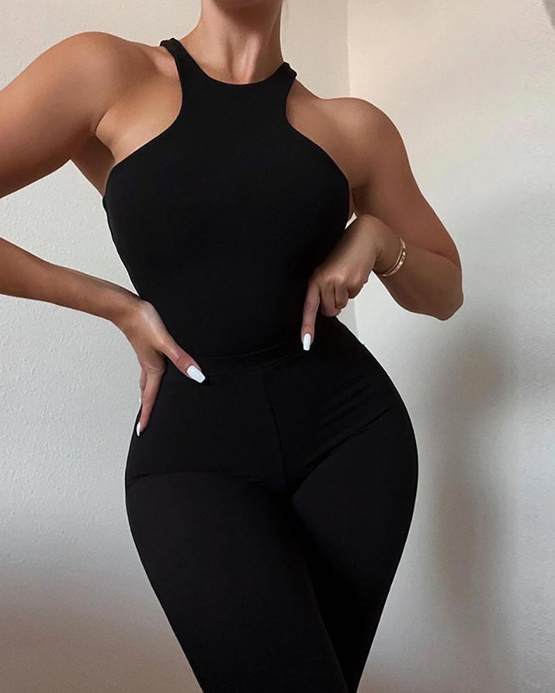 O Neck Sleeveless Top & High Waist Pants Set