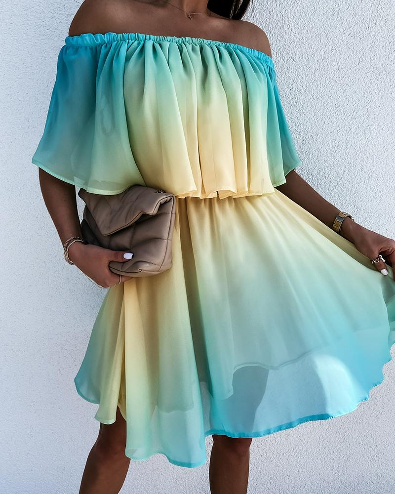 Gradient Tie Dye Print Ruffle Hem Off Shoulder Short Sleeve Mini Dress