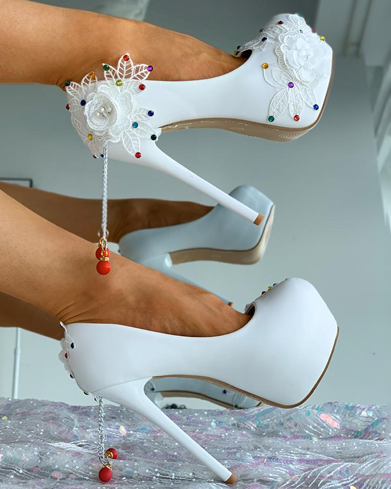 Floral Pattern Colorful Studded Thin Heels