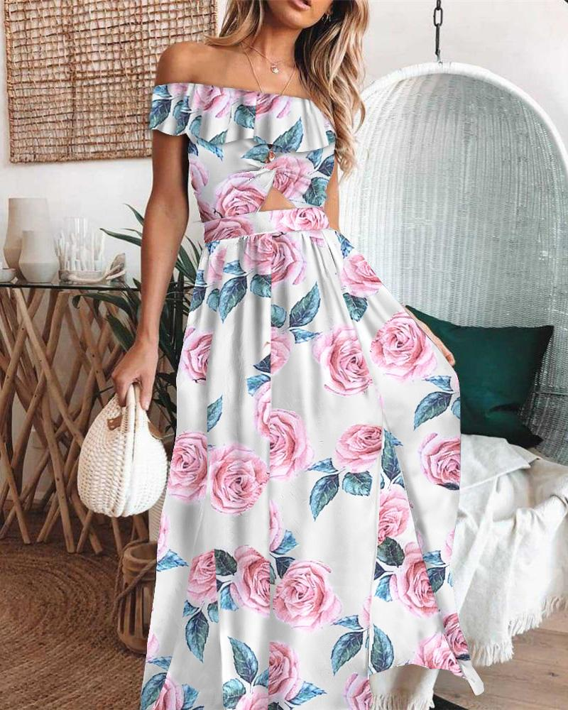Off Shoulder Floral Print Ruffles Cutout Front Maxi Dress, boutiquefeel, Multicolor  - buy with discount