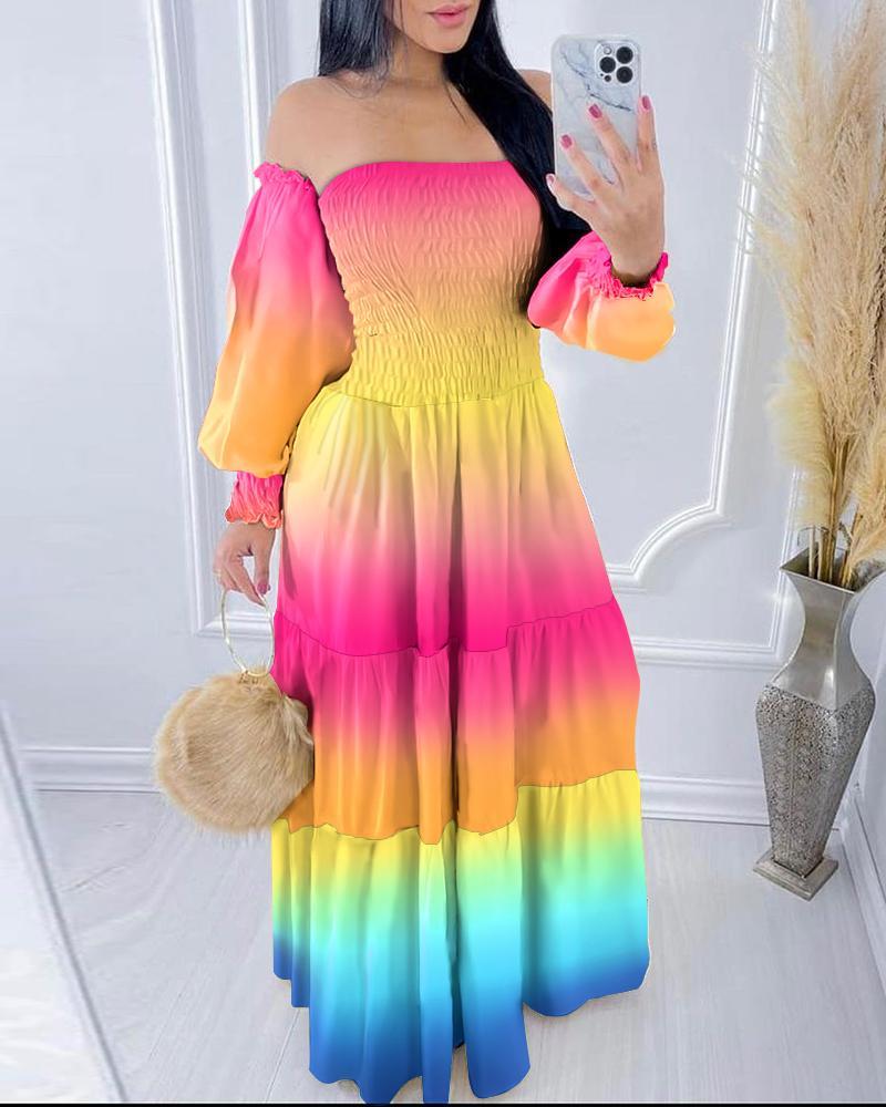 Off Shoulder Gradient Print Smoking Maxi Dress
