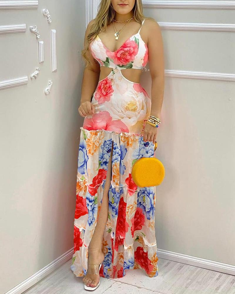 Floral Print V-neck Hollow-out Straight Dress