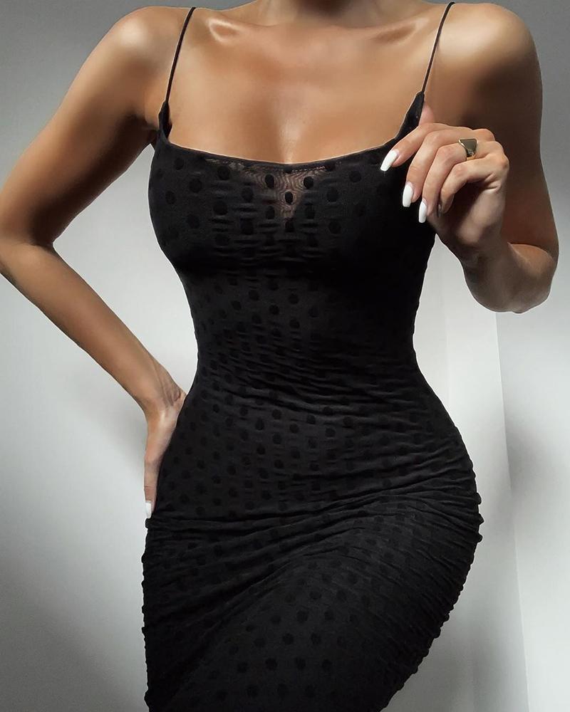 Solid Dot Spaghetti Strap Bodycon Dress