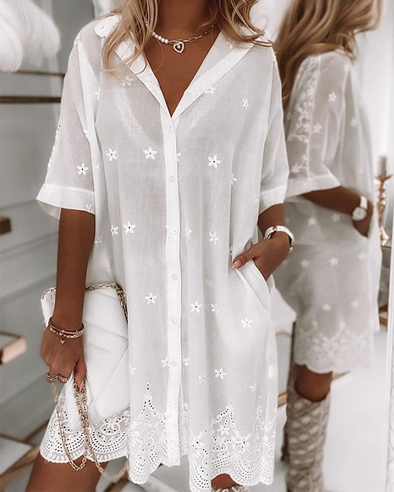 Solid Color Lace Short Sleeve Shirt Mini Dress