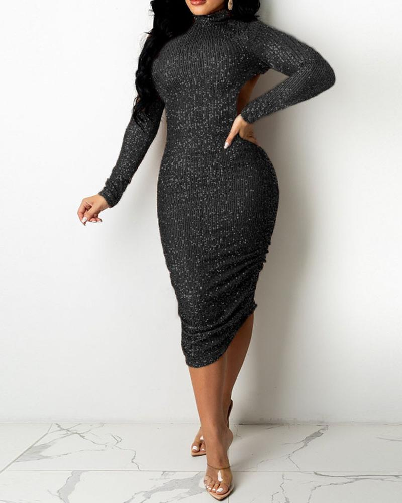 Long Sleeve Backless Ruched Sequin Dress