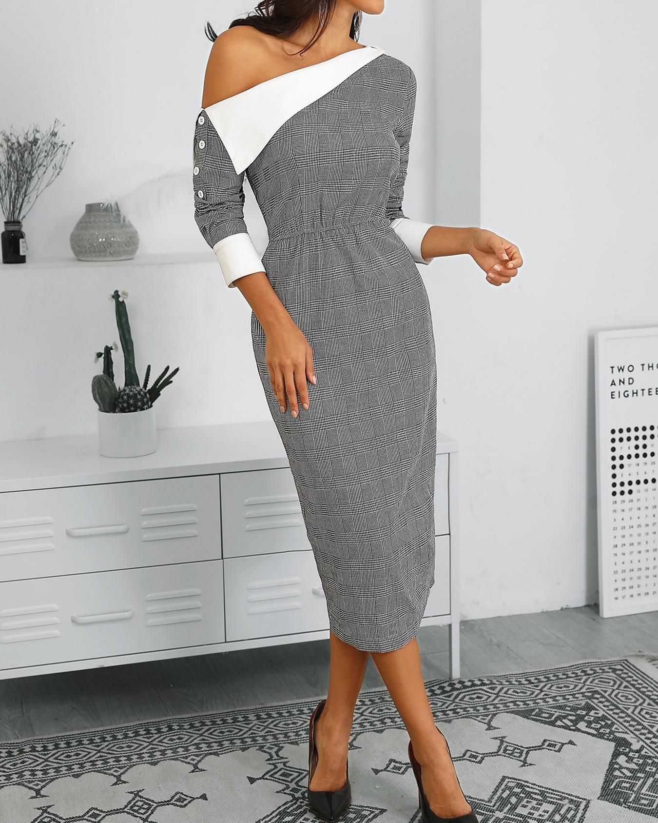 Contrast Color Plaid One Shoulder Dress