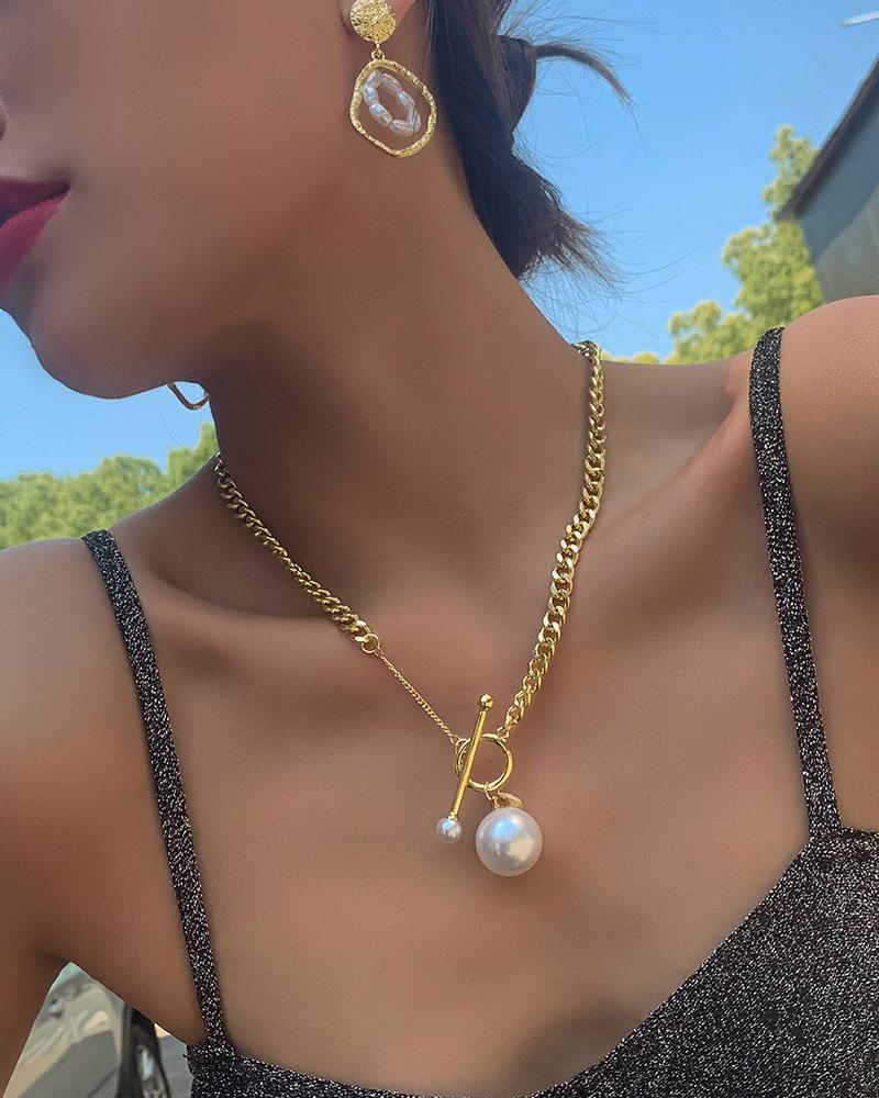Simple OT Buckle Pearl Pendant Chain Necklace
