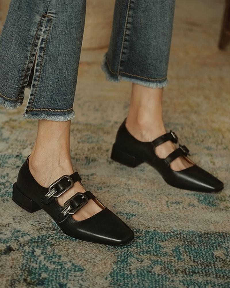 Solid Pointed Toe Double Buckles Flat Slip-on
