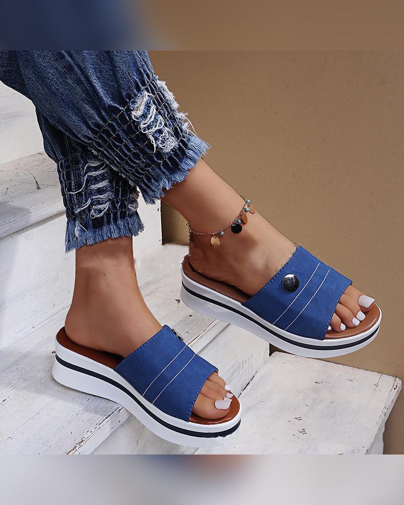 Round-toe Color Block Platform Slippers