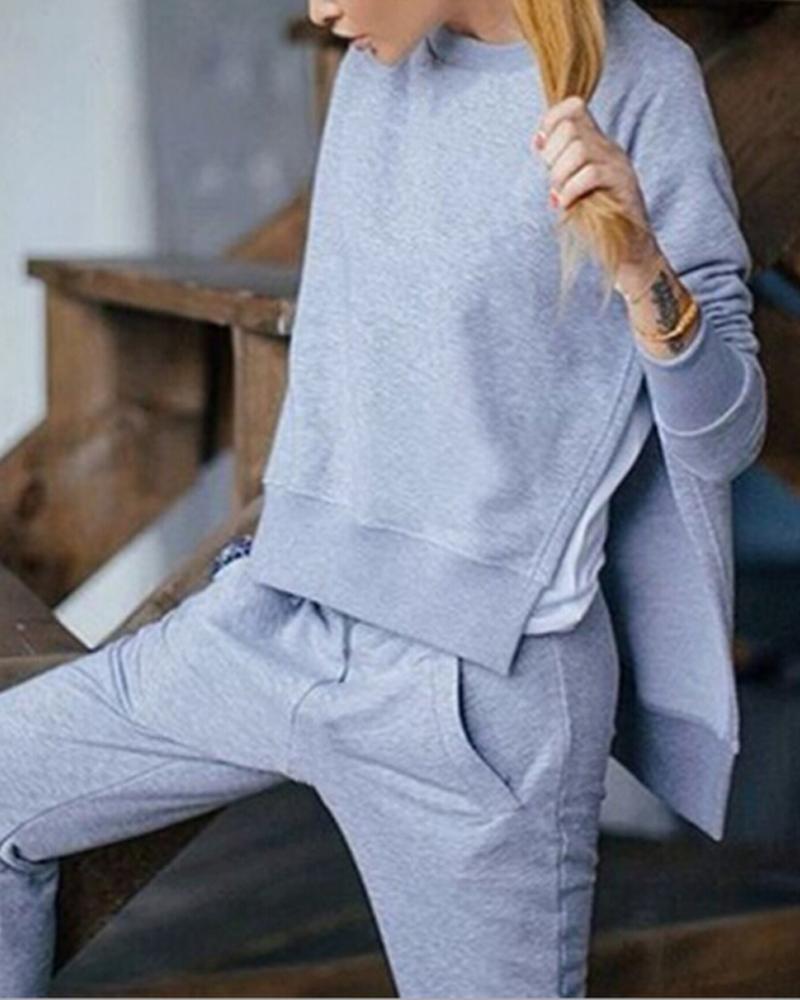Slit Long Sleeve Top & Pockets Pants Set thumbnail