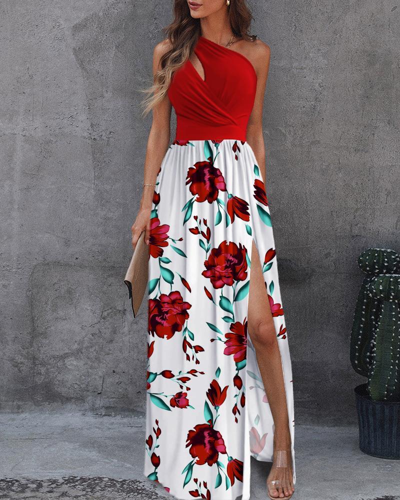 One Shoulder Cutout Floral Print Colorblock Dress