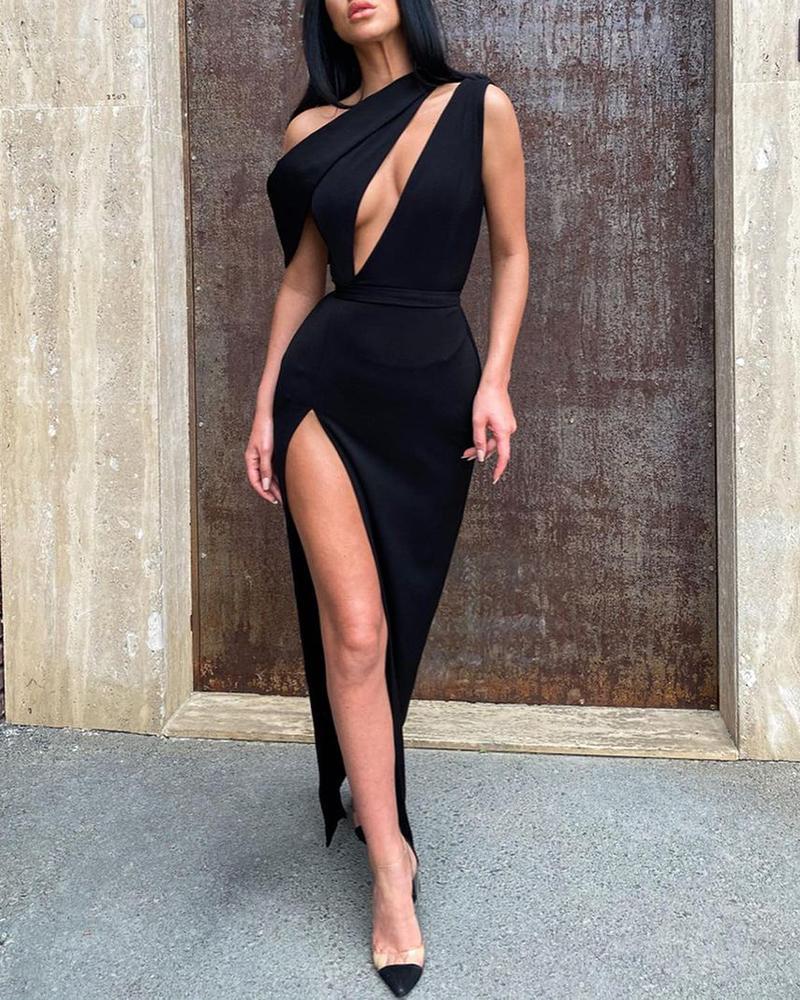 One Shoulder Cutout Front High Slit Party Dress