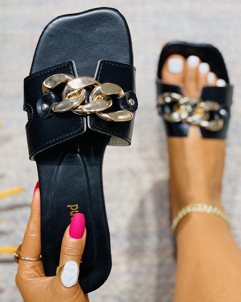 Chain Decor Square Toe Flat Sandals