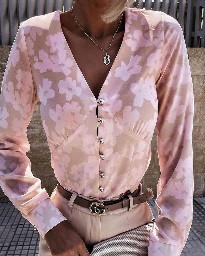 Floral Print V-Neck Button Up Top