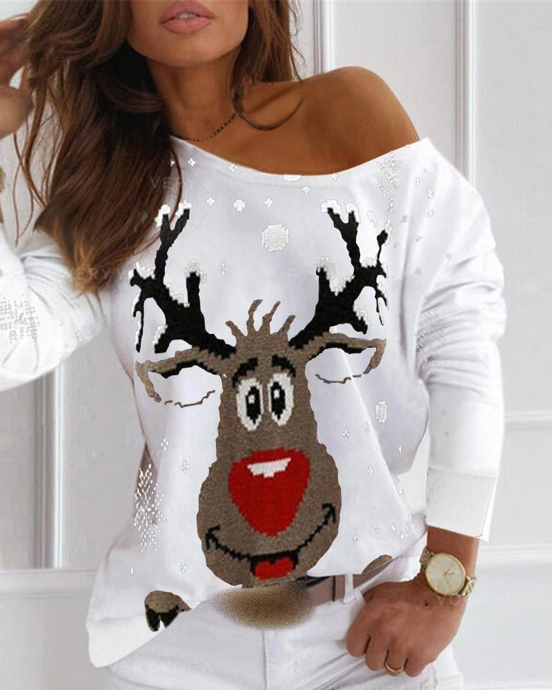Christmas Moose Print Long Sleeve T-shirt