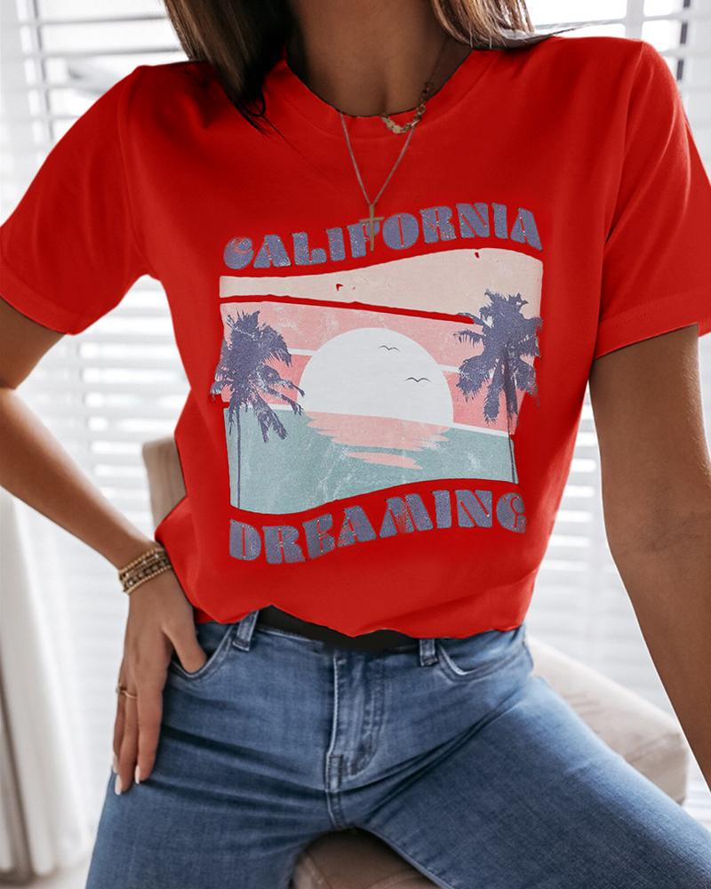 Letter View Print Casual T-shirt