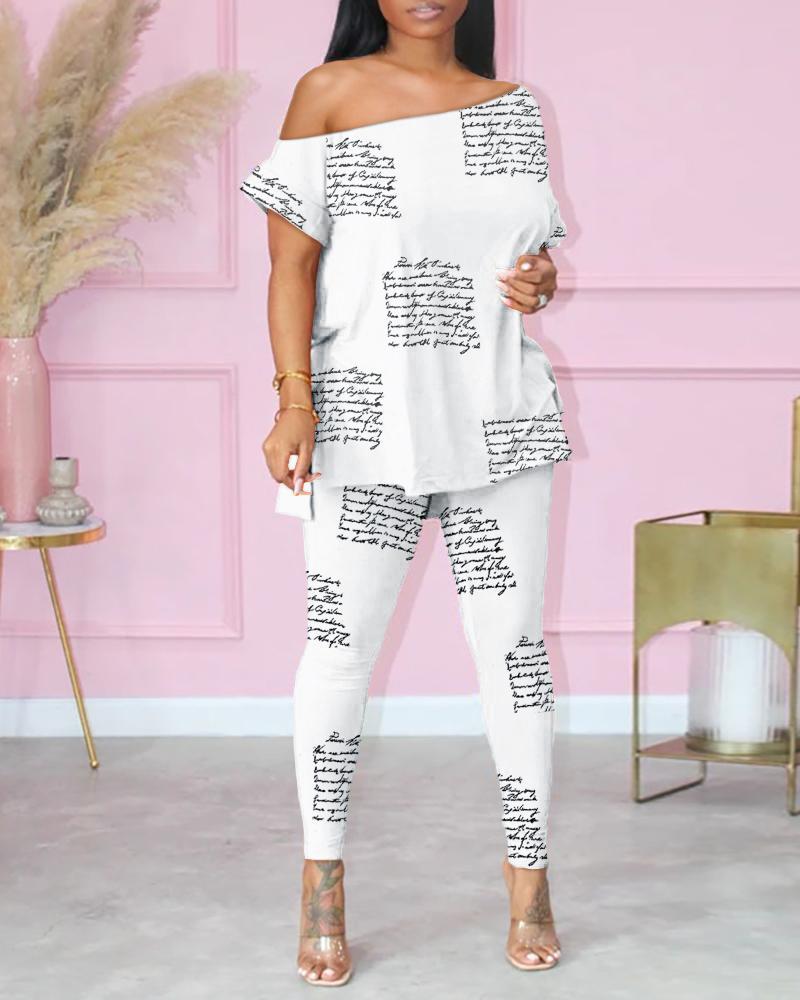 Sexy Cold Shoulder V-Neck Slit Floral Letter Print Top & Pants Set