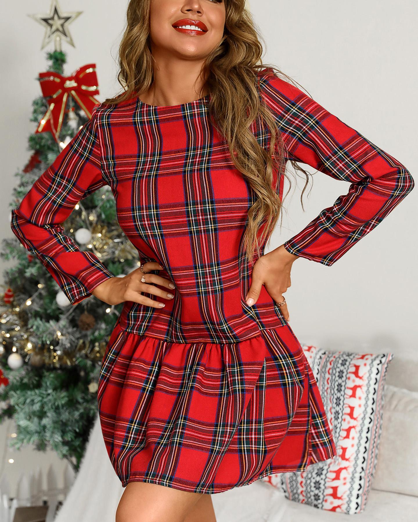 ChicMe coupon: Plaid Pattern Long Sleeve Ruffles Casual Dress
