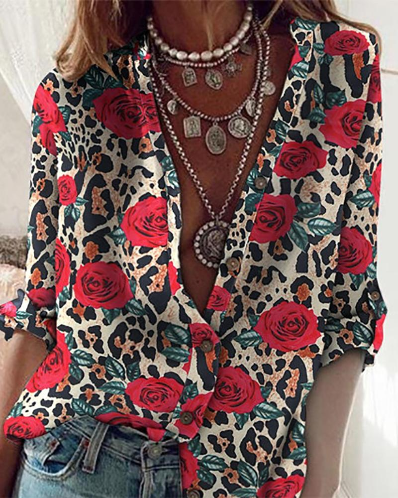 Floral Print Button Design Long Sleeve Top, Khaki