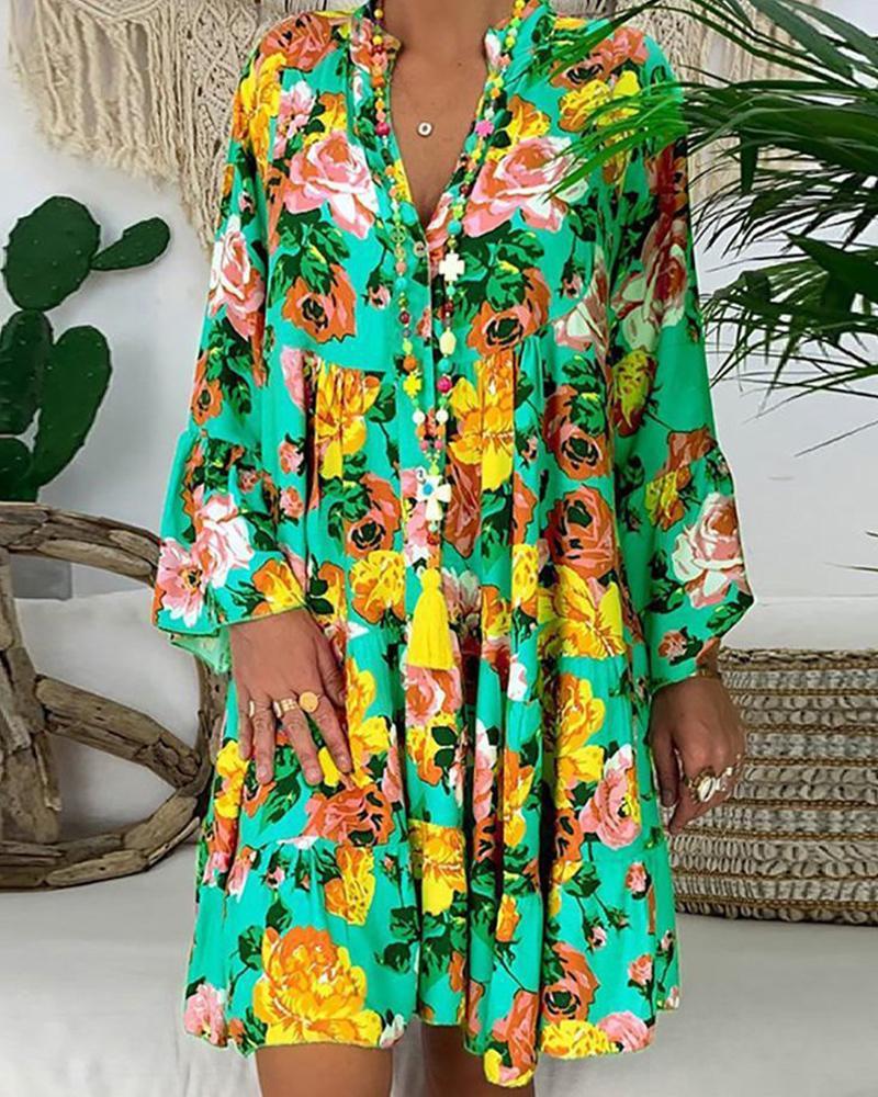 All Over Print Long Sleeve Ruffle Hem Mini Dress, Style2
