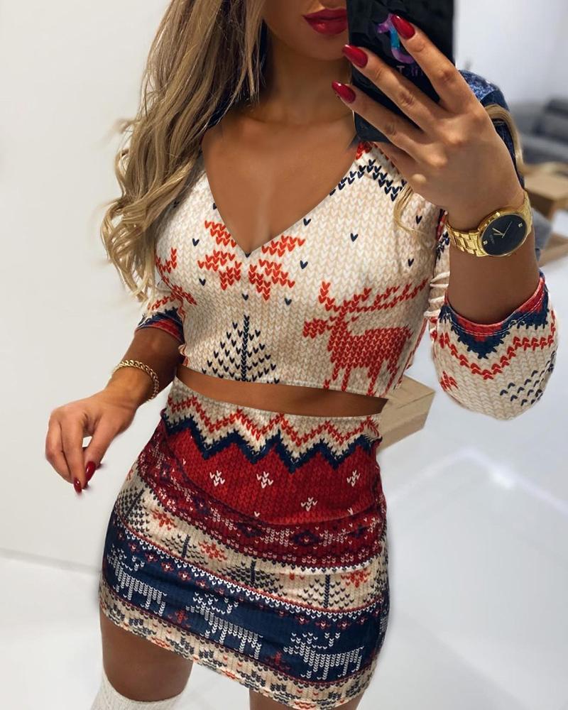 Christmas Print Long Sleeve Top & Skirt Set