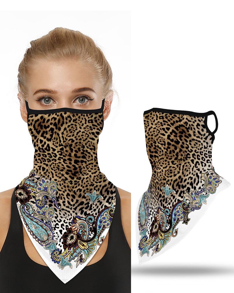 Leopard Print Breathable Ear Loop Face Cover Windproof Bandana