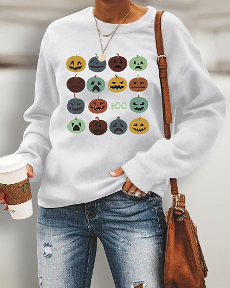 Halloween Pumpkin Print Long Sleeve Casual Sweatshirt