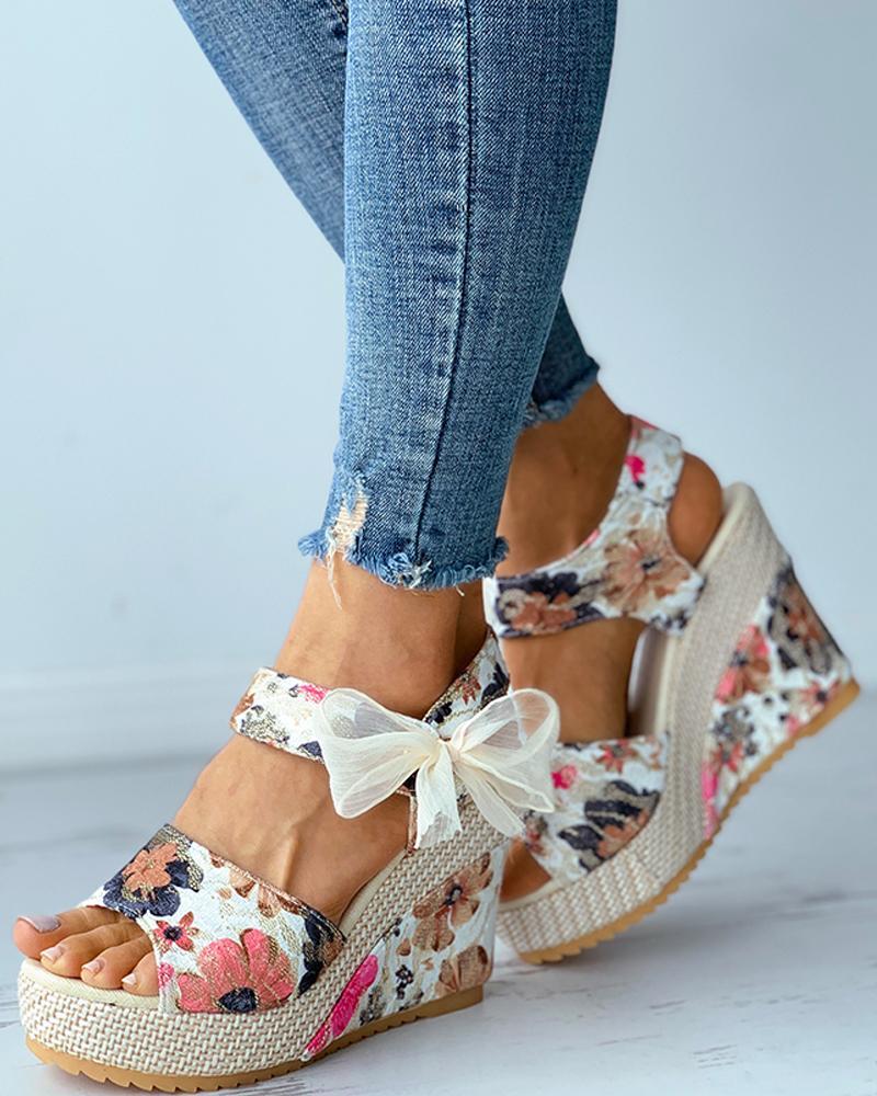 Floral Pattern Print Bowknot Decor Espadrille Wedge Sandals, Beige