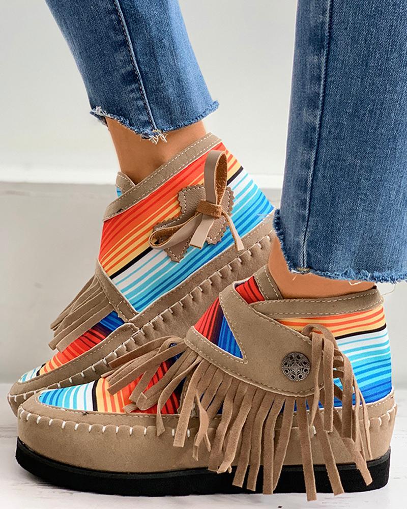 Chaussures design à pampilles à rayures colorées