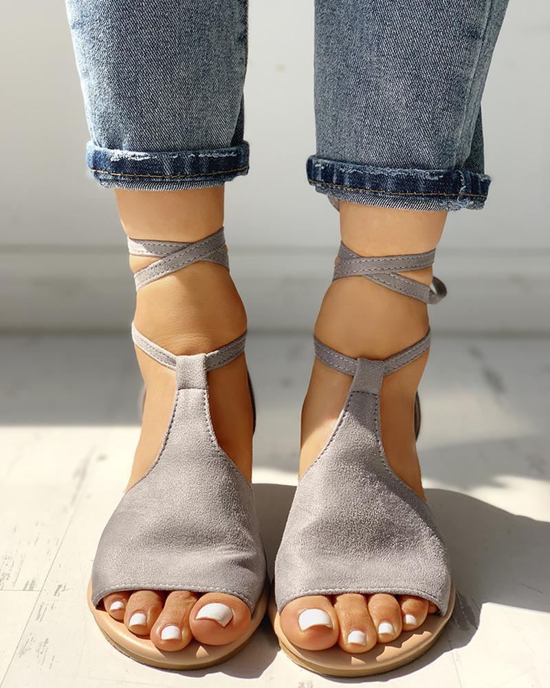 Suede Ankle Strap Crisscross Flat Sandals
