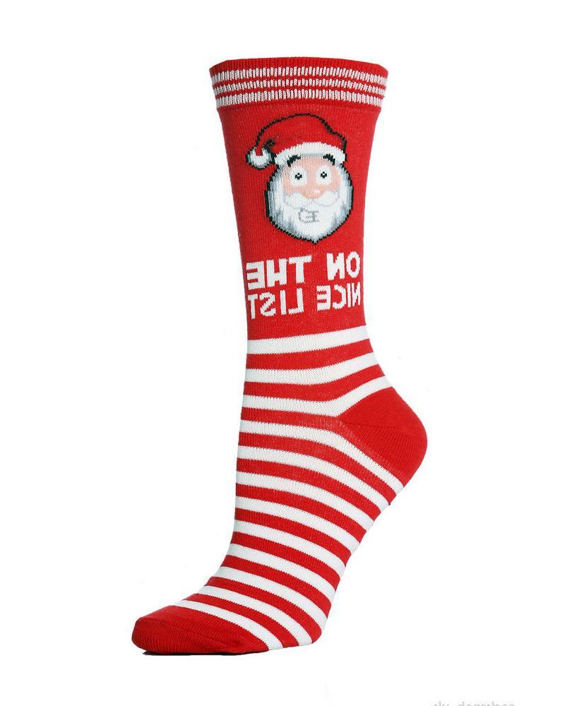 Striped Christmas Pattern Print Socks