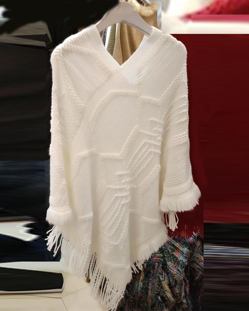 V Neck Tassel Design Poncho Sweater