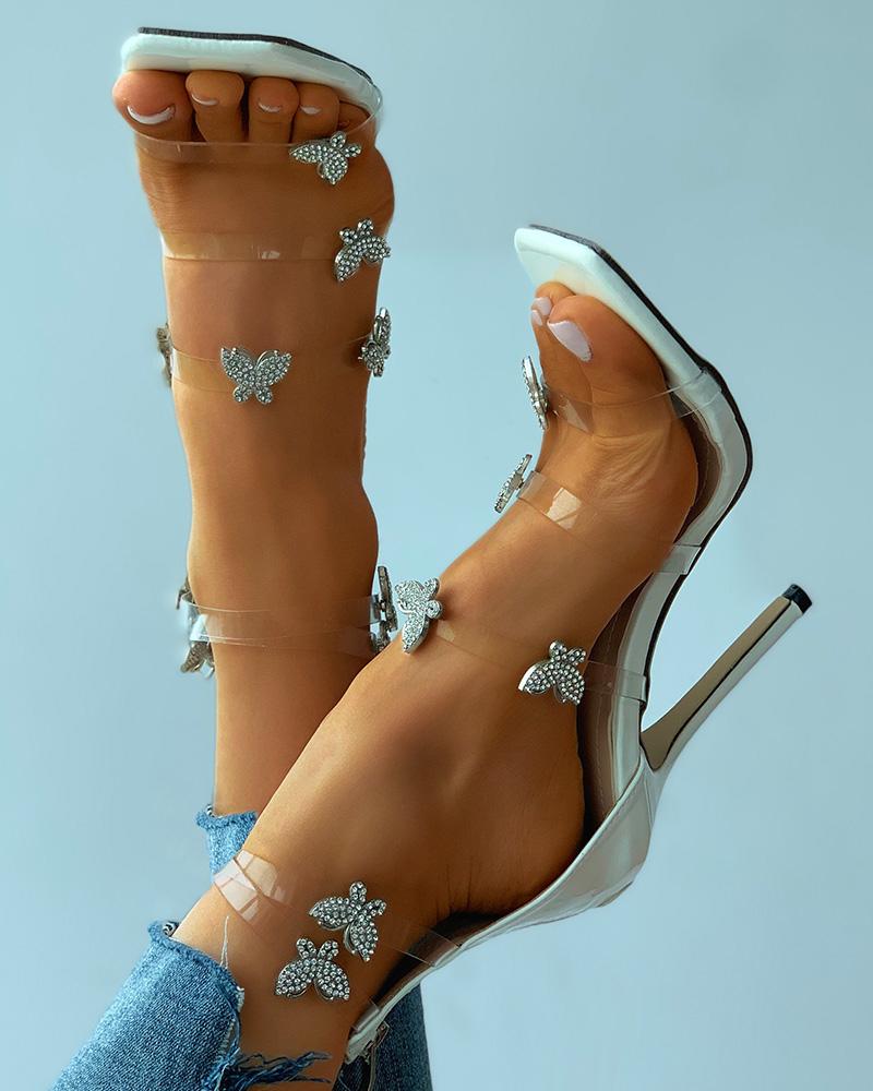 Rhinestone Butterfly Clear Perspex Stiletto Heels